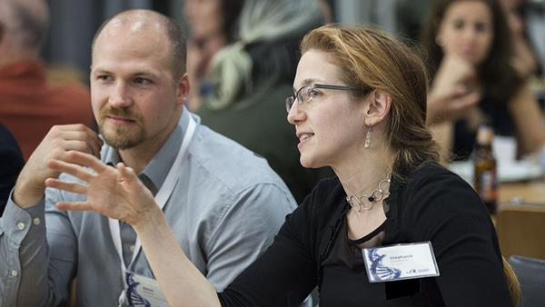 Stephanie Eisenbarth and Adam William at The Jackson Laboratory for Genomic Medicine.