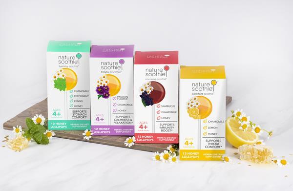 Nature Soothie branded herbal supplement lollipops for children