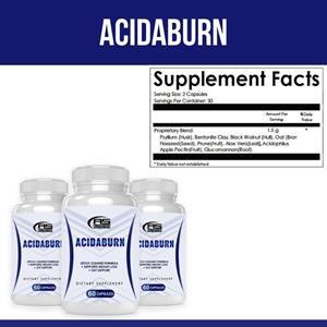 Acidaburn ingredients have weight loss proprieties because contain Black Walnut, Psyllium Husk, Aloe Vera, Bentonite Clay, Flaxseed, Prune, Oat, Acidophilus, Apple pectin, Glucomannan.