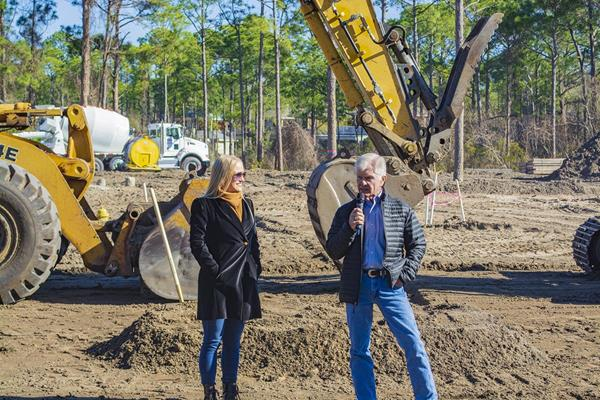 Sara Becnel, Sandestin Golf and Beach Resort, and Tom Becnel, Sandestin Investments LLC, celebrate the ground breaking for Osprey Pointe at Sandestin Golf and Beach Resort which is slated for completion Spring 2020.