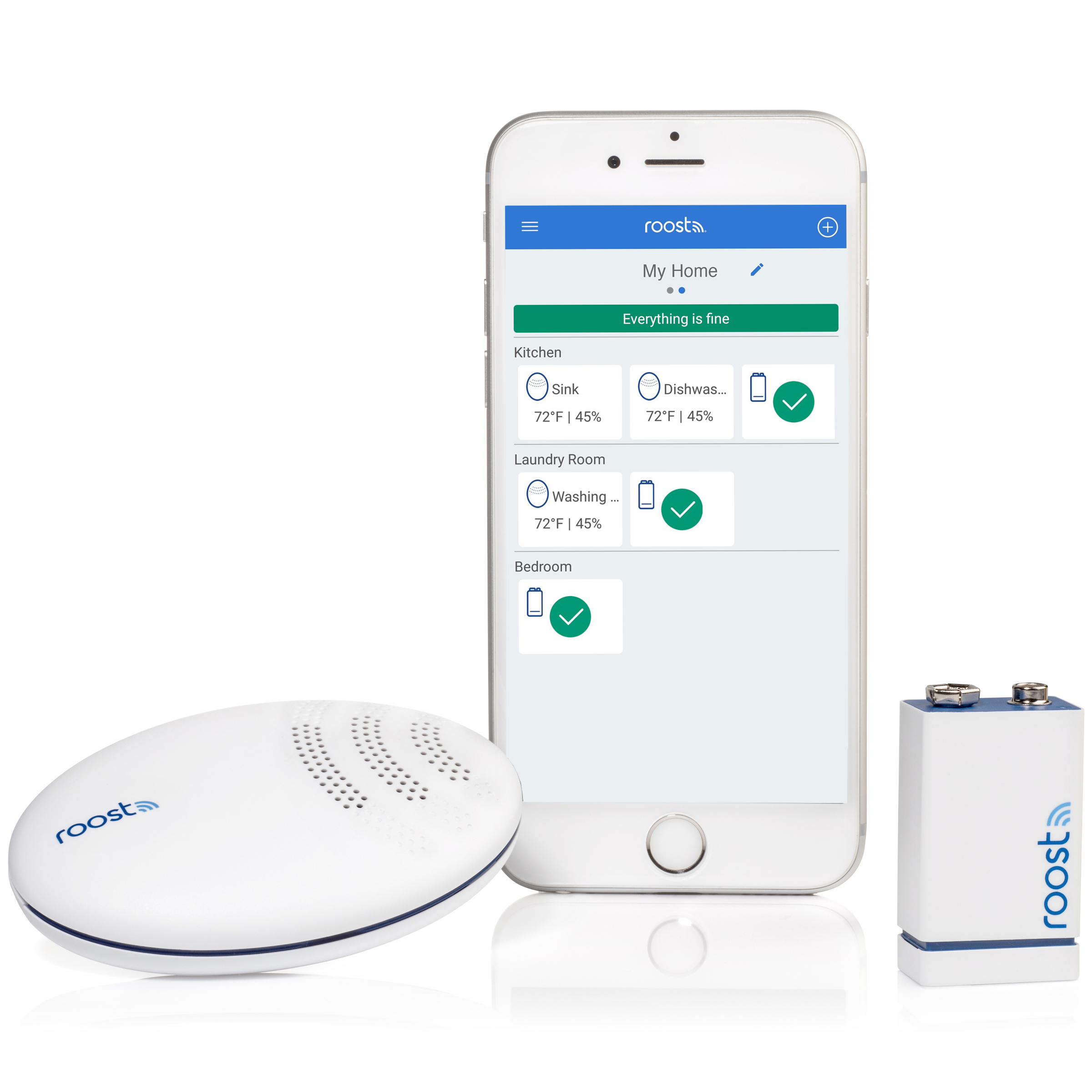 Roost Mobile App, Roost Smart Battery and Roost Smart Water Leak and Freeze Detector