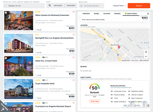 A screen capture of the hotel neighborhood safety scores as seen in the Travel SafetyCheck feature of Etta, the business travel booking and management platform from Deem.