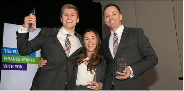 Henry Crayton, Maria Juliana Fueyo, and Jamie Seim of the Jacksonville University CFA Team.