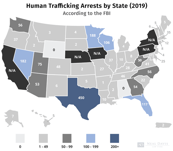 US map of human trafficking statistics by state