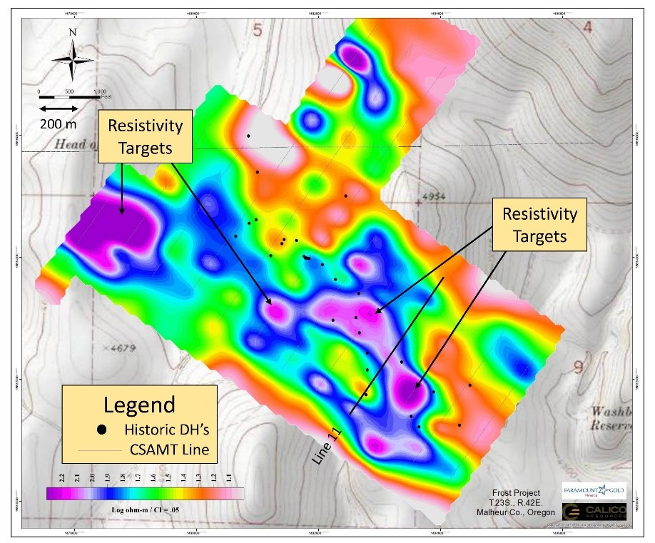Frost plan map showing CSAMT resistivity targets (purple zones)