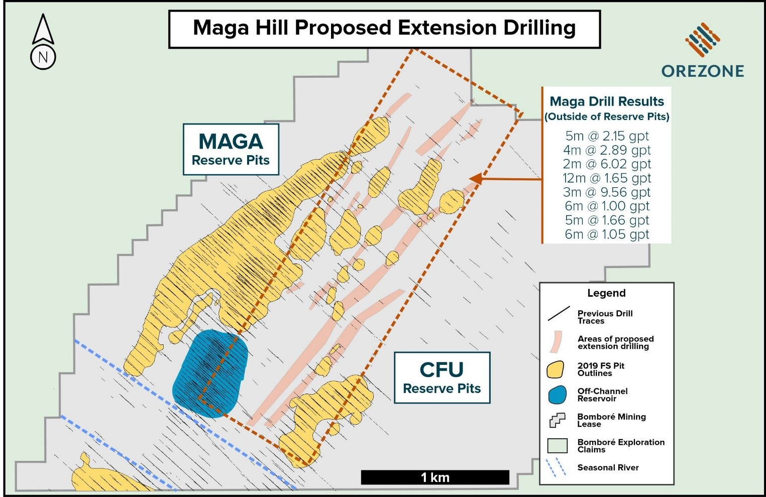 Bombor¨¦ Gold Project: Maga Hill - Plan View of Prospective Exploration Potential