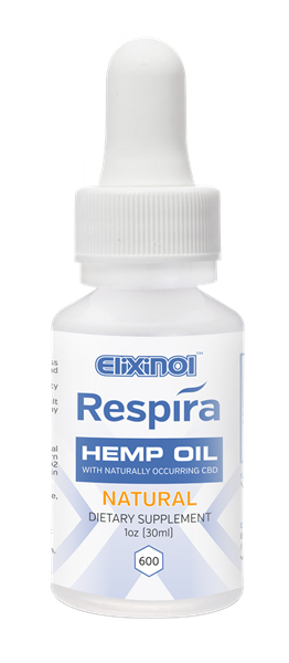 Respira CBD oil for oral, topical or vape use by Elixinol. 600mg, Natural Flavor