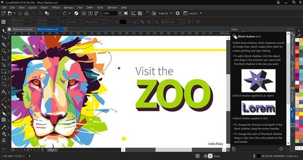 CorelDRAW Graphics Suite 2018 Block Shadow