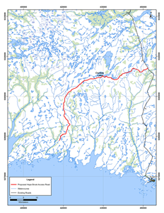 Map Showing the Proposed Access Road