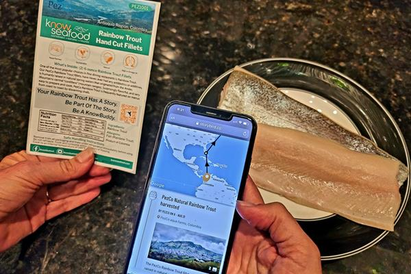 KnowSeafood customers can trace every step of their seafood's journey from ocean to the front door through the innovative use of blockchain technology paired with Storybird supply chain transparency application software. Interactive maps and photos show exactly when, where, and how this Rainbow Trout was caught and shipped.