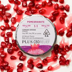 PLUS CBDRelief 1:1 Pomegranate gummies are expected to be available at licensed retailers across California.