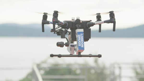 LD_Drone_InDroRobotics Drone Delivery in flight August2019