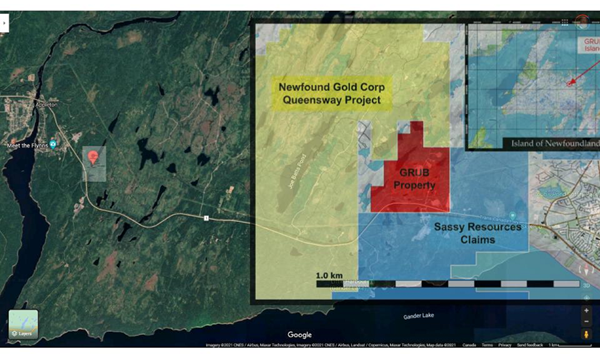 Location of the Grub Line Property adjacent to New Found Gold Corp. Queensway property