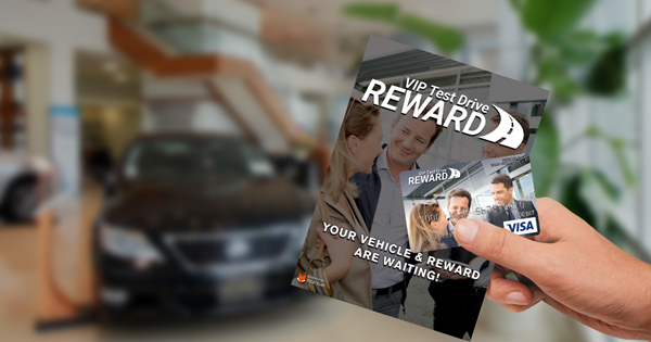 VIP Test Drive Card and Carrier in Dealership