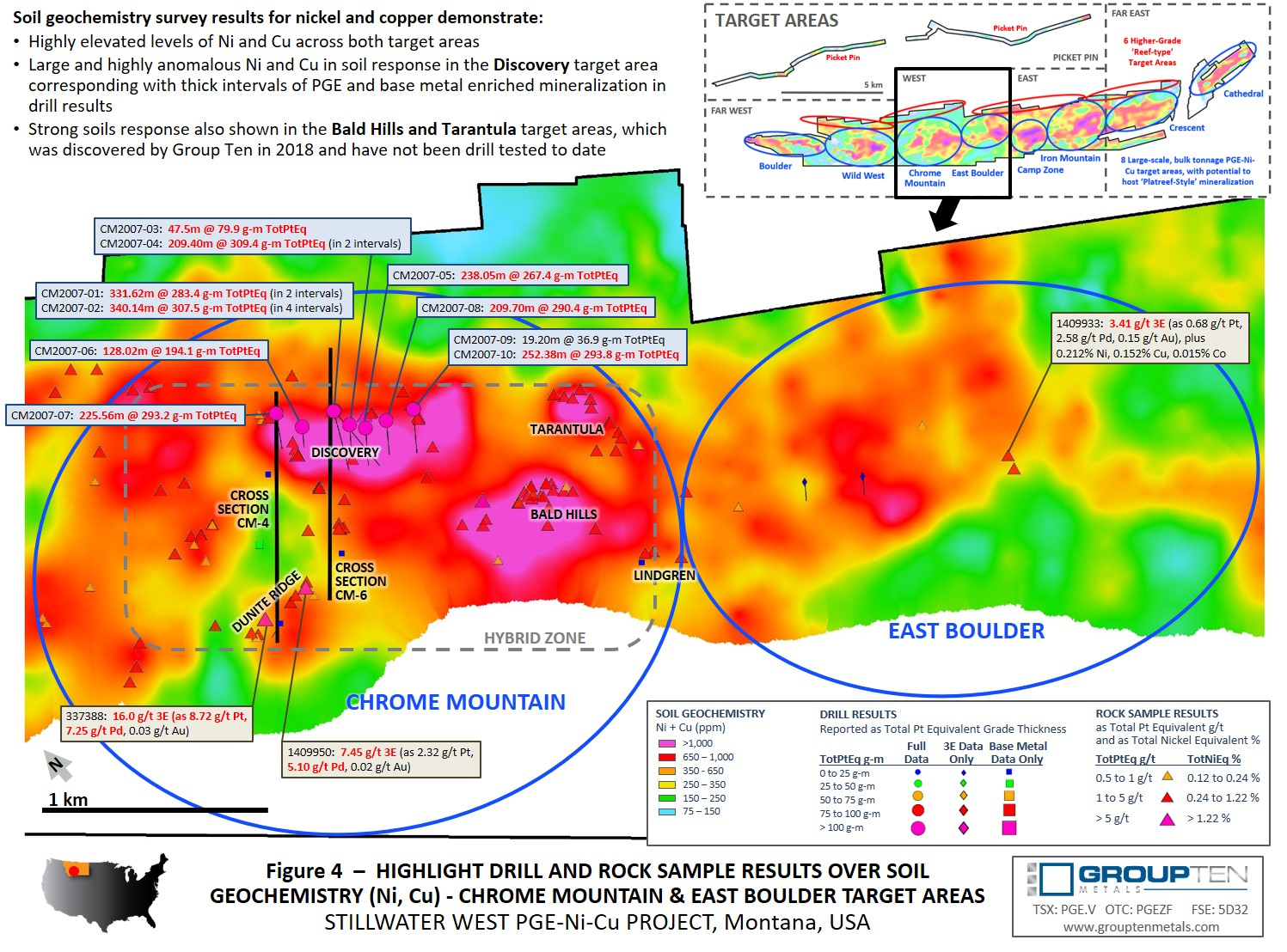 Figure 4  –  Highlight Drill and Rock Sample Results Over Soil Geochemistry (Ni, Cu) - Chrome Mountain & East Boulder Target Areas