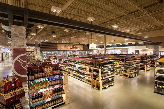 The Albertsons Market Street wine section in Meridian, ID.