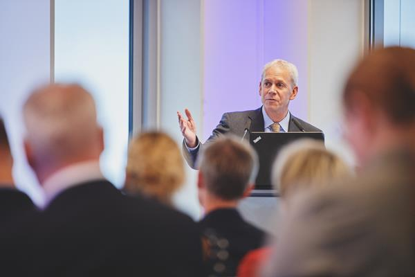 NSF International President and CEO Kevan Lawlor speaks at a recent pharmaceutical industry event in Hamburg, Germany. NSF International has acquired a majority interest in Amarex Clinical Research, LLC, a clinical stage contract research organization (CRO) headquartered in Germantown, Maryland.