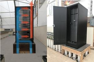Negative pressure cabinet showing cool airflow from Canadian wells and server configuration. Cabinets are sealed and insulated from ambient air in the