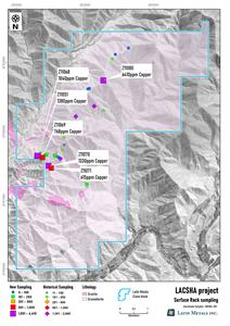Geological map of the Lacsha Property with Historical and Current Rock Sampling Results.