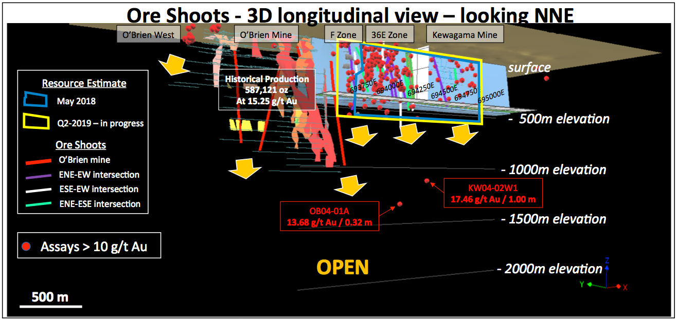 Longitudinal view - O'Brien gold project