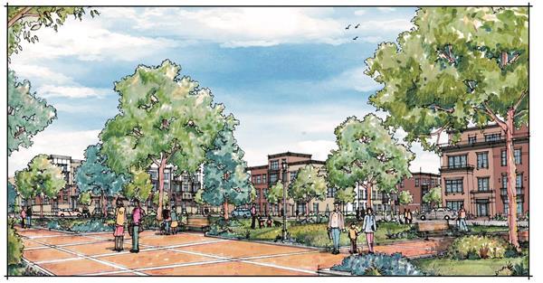 An artist rendering of Mercer Park, part of the proposed Mercer Crossing community