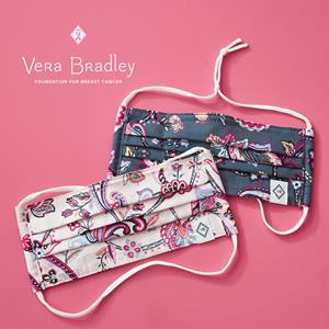 Now through the end of the year, 100% of the proceeds from Vera Bradley's two-pack of Cotton Face Masks in Felicity Paisley and Felicity Paisley Pink will be donated to the Vera Bradley Foundation for Breast Cancer.