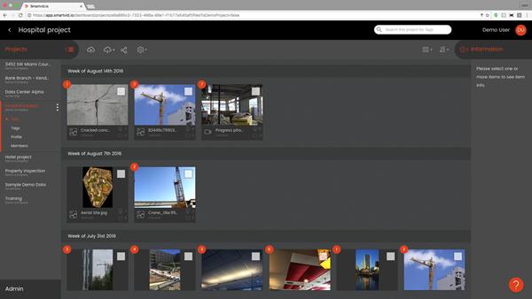 Screen capture from Smartvid.io web platform