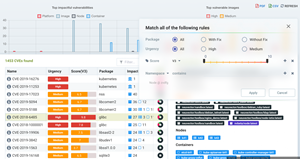 dashboard for investigating vulnerabilities or compliance checks