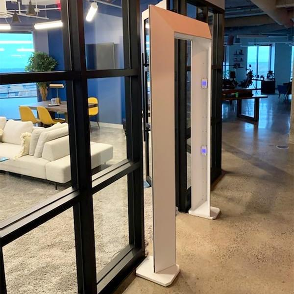 The Cleanse Portal is a free-standing walk-through arch sanitizer, similar in size and shape to a metal detector, that inactivates bacteria and viruses on skin, clothing and goods with a dosage requirement as low as 20 seconds.