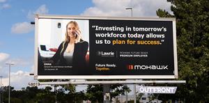 Lawrie Insurance Group's Mohawk College Future Ready Premium Employer billboard located in Burlington, Ontario.