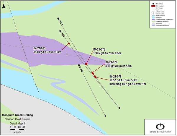 Figure 2: Mosquito Creek select drilling highlights