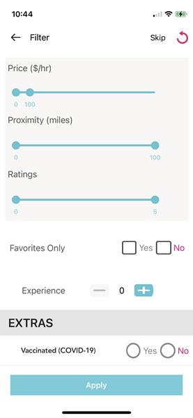 NannyPod App - Filters
