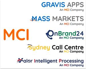 Logos of Assets/Companies owned by MCI: Gravis Apps, Mass Markets, The Sydney Call Centre, OnBrand24, and Valor Intelligent Processing.
