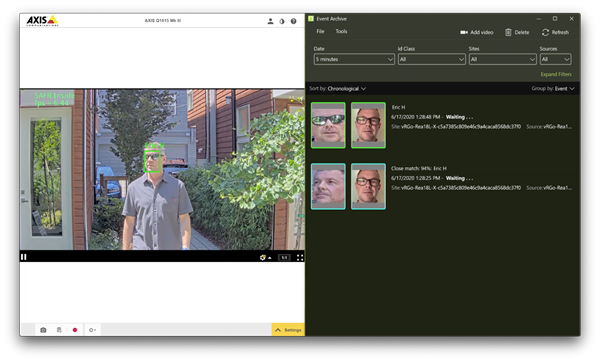 SAFR Inside running on the AXIS Q1615 Mk III Network Camera, performing face detection in-camera and biometric matching in the SAFR Cloud platform. Face recognition results and associated event meta data is displayed in real time in the SAFR web console, and desktop client (pictured), applications.