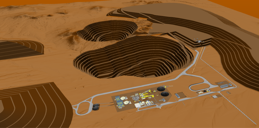 Isometric Illustration (Looking SE) of the Stand-alone Open Pit PFS Project.