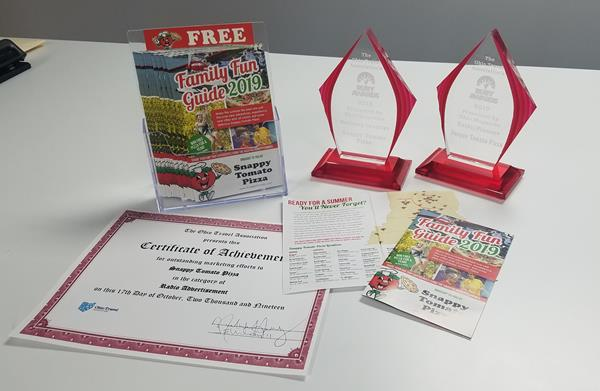 Ruby Awards Image: Snappy Tomato Pizza Family Fun Guide 2019 marketing campaign named a Ruby Award winner, best in class by the Ohio Travel Association - www.OhioTravel.org #Winner #OhioTravel #Pizza #SnappySummer #SnappyTomato