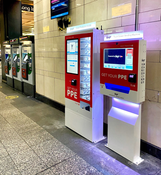 Vengo and VengoXL PPE kiosks in NYC subway station