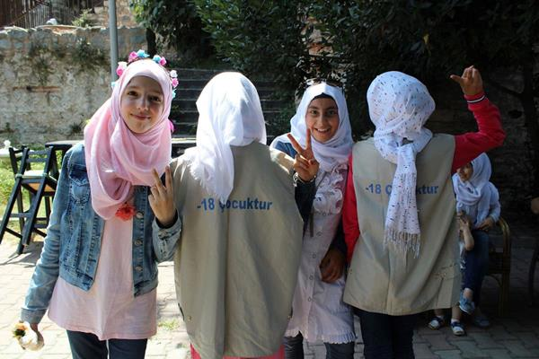 Participants in a child protection project organized by Juliette Gimon Courage Award winner Mavi Kalem in Turkey.