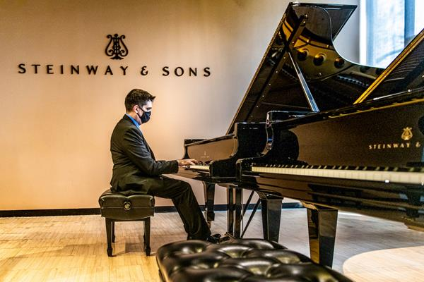 Texas A&M University-Commerce Professor of Piano and Steinway Artist Dr. Luis Sanchez performs his craft at the Steinway & Sons Headquarters in New York City.