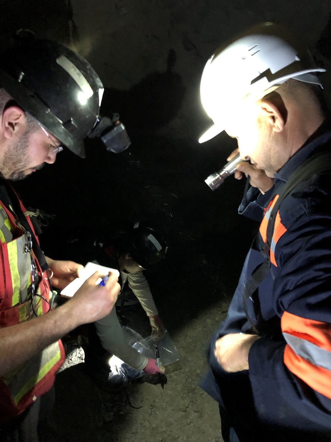 Underground sampling by joint Geological team