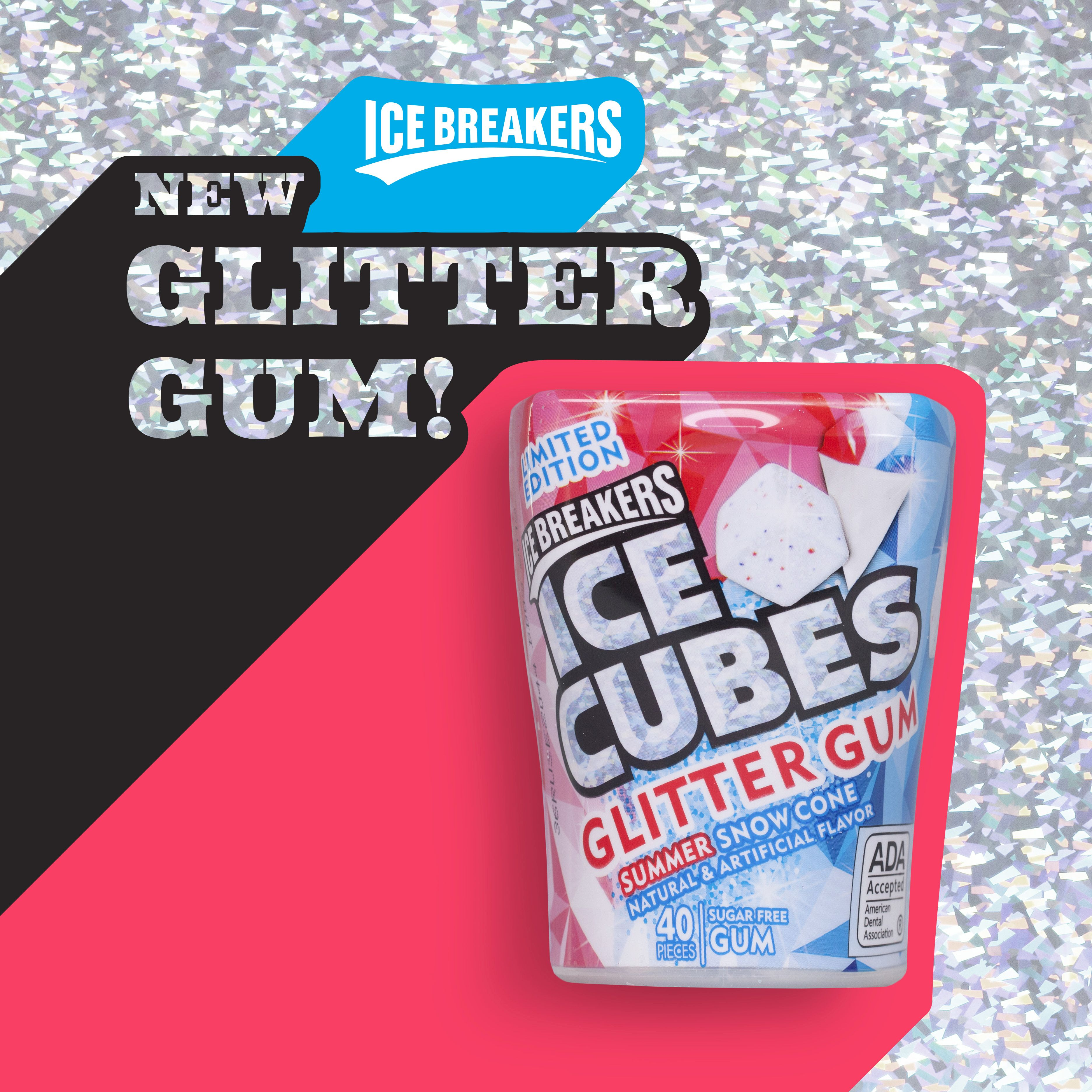 ICE BREAKERS ICE CUBES Glitter Gum Summer Snow Cone