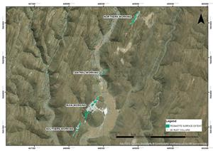 MAP SHOWING LOCATION OF PEGMATITES AND RC DRILLING BY PRIOR OPERATORS
