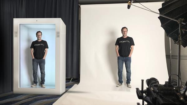 "PORTL Inc, founder David Nussbaum demonstrates the Epic PORTL hologram device, the world's first human-sized, single-passenger holoportation machine. The Tim Draper-backed startup's slogan is, ""If you can't BE there, BEAM there!"""