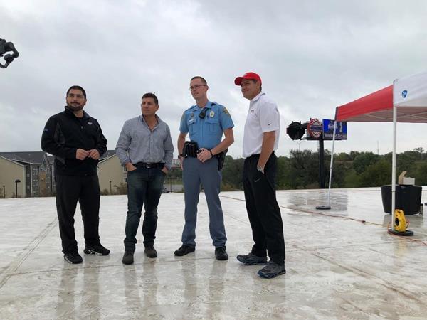 Left to Right: Johnny Steven, Brandon Steven, Deputy Miller, and Rodney Steven II at Wichita Ice Center Rooftop Fundraiser for Deputy Kunze Monday, October 8