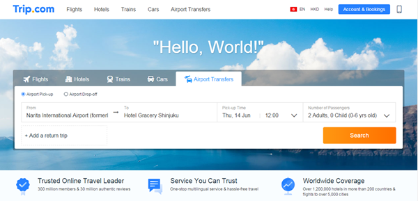 Trip.com Hong KongWebpage