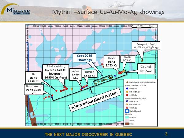 Figure 3 Mythril surface showings