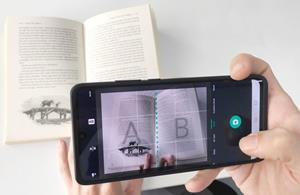 Use CamScanner to scan a book.