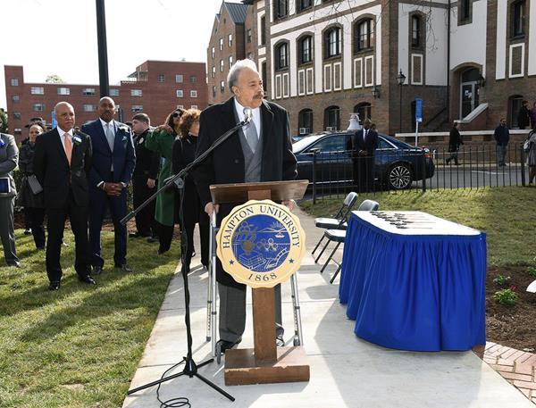 Hampton University President, Dr. William R. Harvey, unveils newest addition to campus, Legacy Park