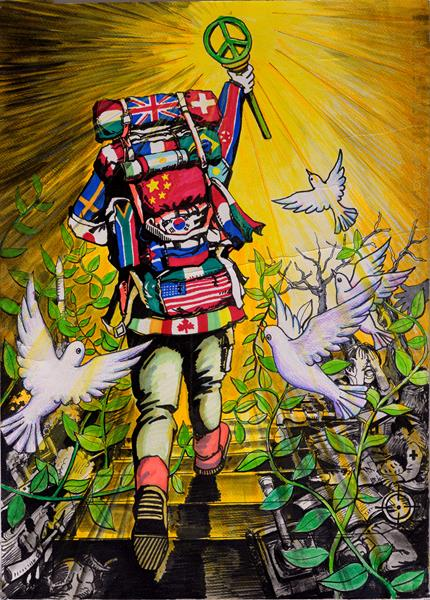 Zhuo Zhang, a 13-year-old boy from Xi'an, China, has a vision of what peace looks like. Zhang brought that vision to life through his art, earning him the grand prize in the Lions Clubs International Peace Poster Contest.