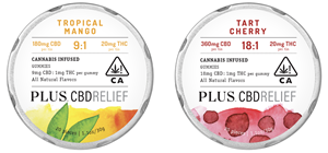 PLUS CBDRelief 9:1 Tropical Mango with 9mg of CBD and 1mg of THC per serving, and PLUS CBDRelief 18:1 Tart Cherry with 18 mg of CBD and 1 mg of THC per serving.